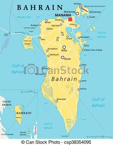 Bahrain political map. Bahrain political map with capital ...