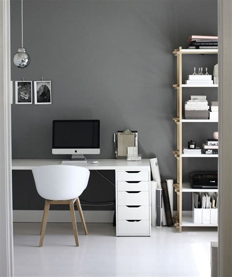 gray office desk black and white workspaces homey oh my