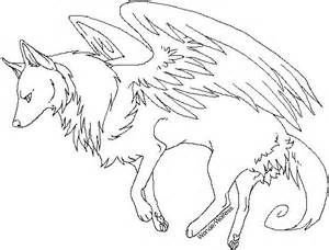 Winged Wolves Coloring Pages