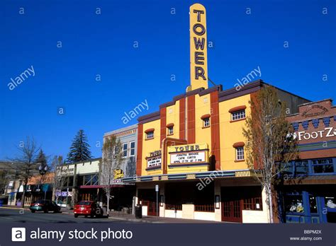 the tower theater and downtown shops bend oregon stock