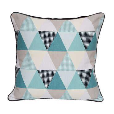 coussin 45x45 cm triangle coloris bleu vente de coussin et housse de coussin conforama