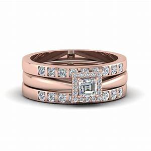 princess cut square halo diamond trio wedding ring sets With square wedding rings for women