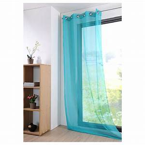 Rideau Jaune Et Bleu : rideau voilage bleu celadon 135x260cm oeillets monna ~ Teatrodelosmanantiales.com Idées de Décoration
