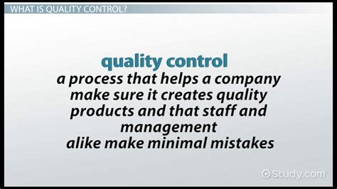 types  quality control video lesson transcript
