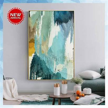 Painting Abstract Teal Canvas Acrylic Paintings