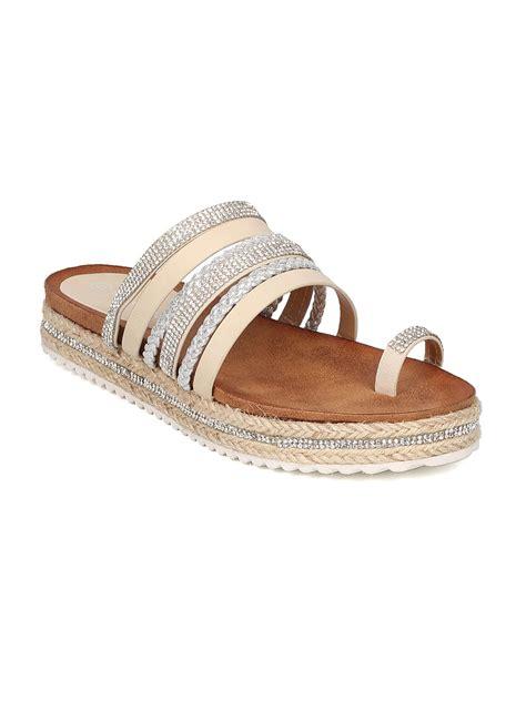 new women nature barclay01 mixed media toe ring espadrille footbed sandal ebay