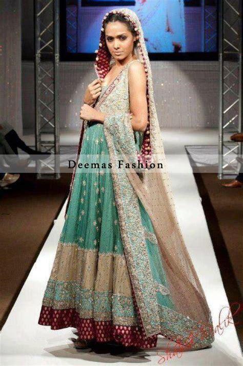 sea green light brown bridal anarkali dress pakistani