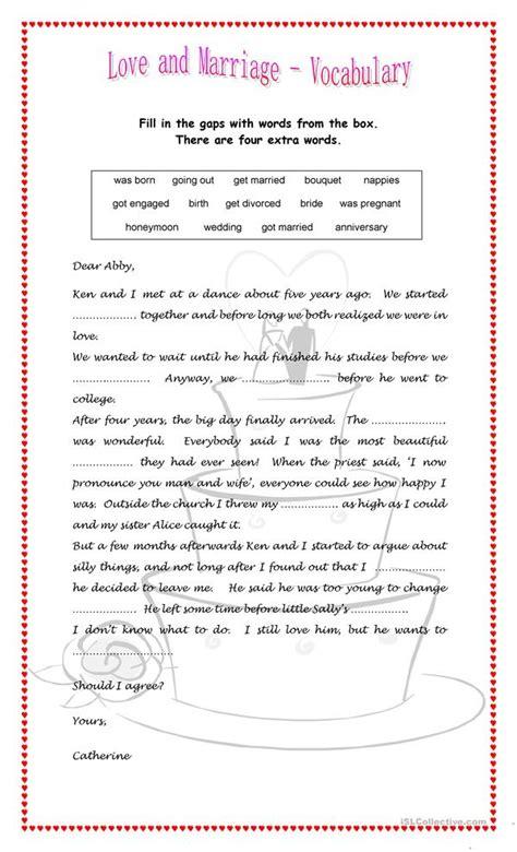Love And Marriage Worksheet  Free Esl Printable Worksheets Made By Teachers