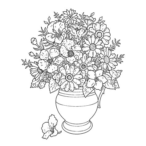 Een Kleurplaat Voor by Leuk Voor Bloemen Op Een Vaas
