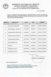 Schedule Of Viva  Clinical Exam Oct  Nov Session 2018