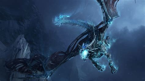 full hd wallpaper ice dragon undead fly night desktop