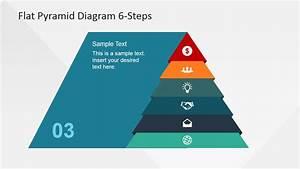 6 Steps Flat Pyramid Powerpoint Diagram