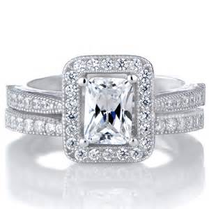 cut halo engagement rings kilma 39 s emerald cut cz halo wedding ring set
