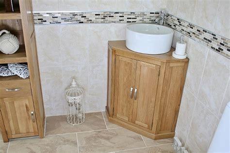 Corner Bathroom Large Cabinet Oak Cloakroom Vanity Unit