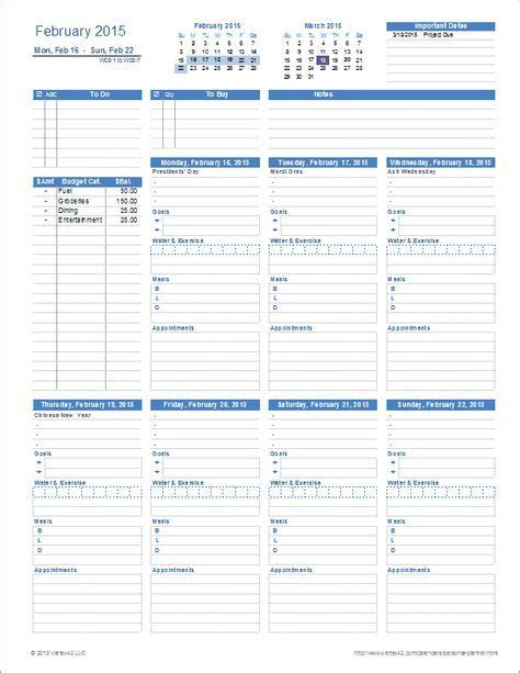 printable personal planner template  excel