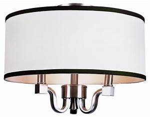 Three light brushed nickel drum shade flush mount