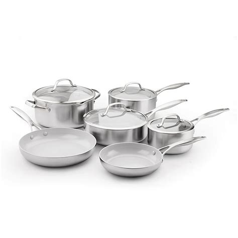 greenpan cookware ceramic nonstick pro venice piece stainless steel non stick sets open kitchen light pc safe trade pans bed
