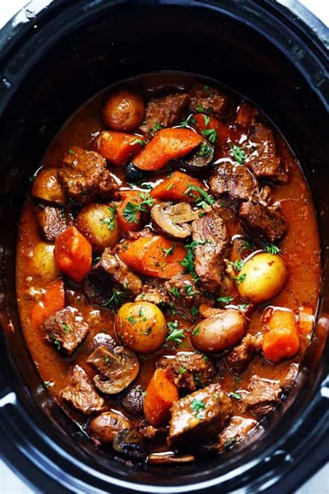 beef slow cooker bourguignon stew recipe cooking bacon couldn enough