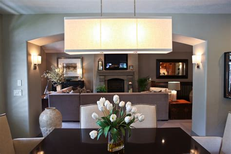 Rectangular Shade Chandelier Living Room Contemporary With