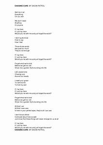 Song Worksheet: Chasing Cars by Snow Patrol