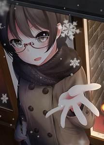Short, Hair, Brunette, Anime, Anime, Girls, Glasses, Meganekko, Snow, Brown, Eyes, Hd, Wallpapers
