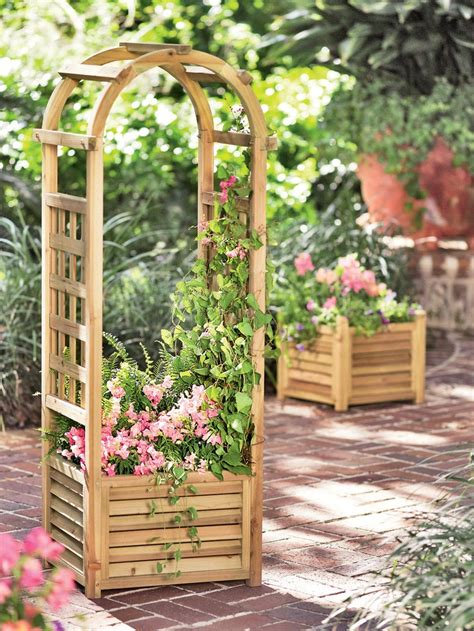 planters with trellis louvered wooden planter with trellis