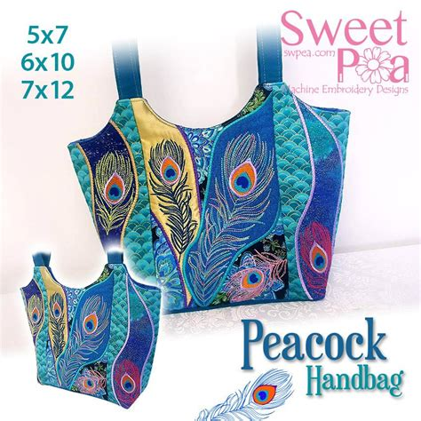 peacock hand bag applique machine embroidery design sweet pea