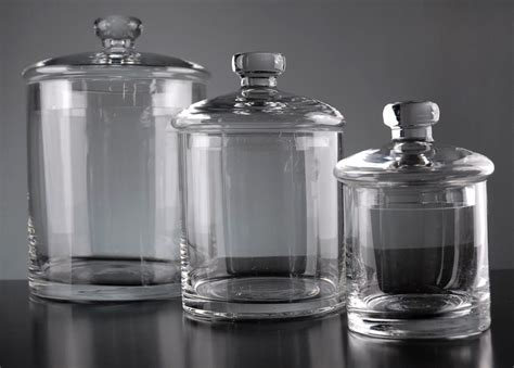 clear glass kitchen canisters clear glass canister jars set of 3 jewelry display