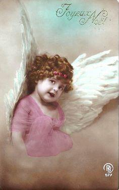 vintage tinted postcard    angels