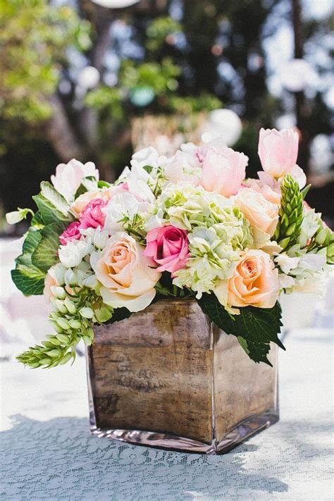 rustic wedding centerpieces  bark container