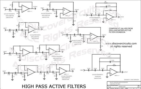 Hobby Circuit High Pass Active Filter Collection