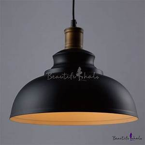 Industrial design retro dome pendant lamp in black