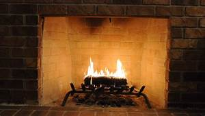 Brick Fireplace With Log Burning Stock Footage Video  100