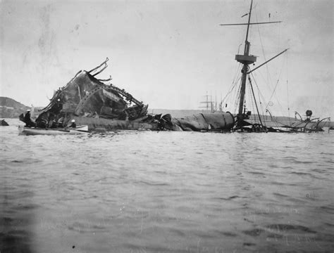 Uss Maine Battleship Sinking In Harbor by Wreck Of The Uss Maine Low Tide Harbor Cuba 1