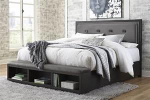 Hyndell, Dark, Brown, Cal, King, Upholstered, Platform, Storage, Bed