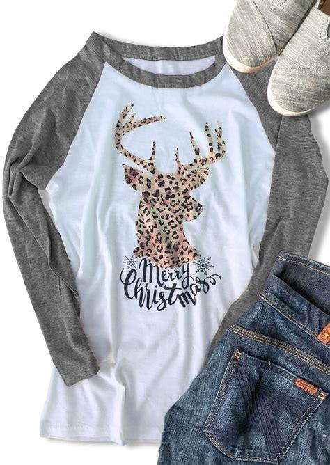 merry christmas reindeer leopard baseball  shirt