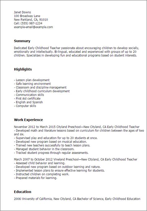 early childhood teacher resume templates education