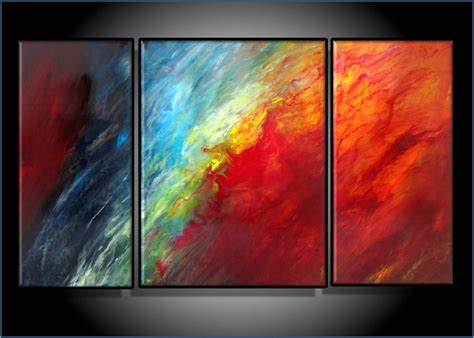 Modern Abstract Art Original Painting Triptych 24 X 42 Inch