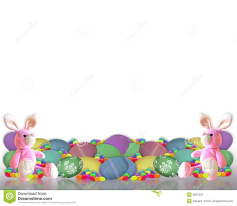 easter border bunny eggs candy royalty  stock images