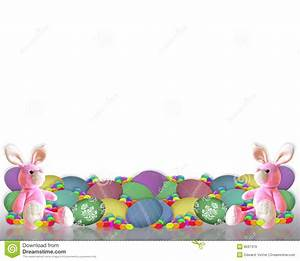 Easter Border Bunny Eggs Candy Stock Illustration - Image ...