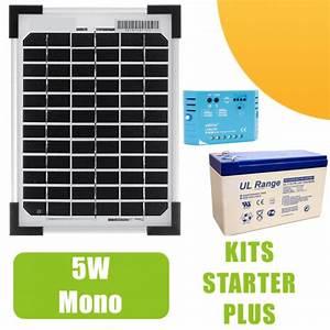 Régulateur Pour Panneau Solaire : kit panneau solaire mono 5w 12v avec r gulateur 5a et batterie 62 90 starter kits ~ Medecine-chirurgie-esthetiques.com Avis de Voitures