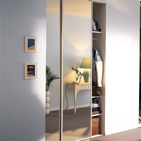 stickers miroir cuisine lot de 2 portes de placard coulissante miroir argent l 120