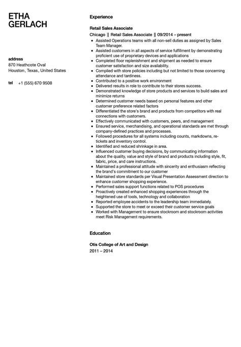 sales associate resume sle velvet