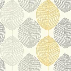 Scandi Leaf Yellow Grey Glitter Feature Wallpaper Opera