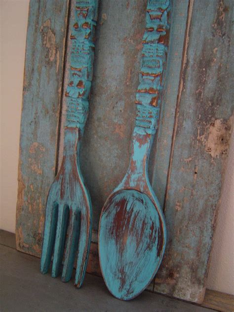Wooden Fork And Spoon Wall Decor Large by Turquoise Spoon Fork Wooden Wall Decor Distressed Big