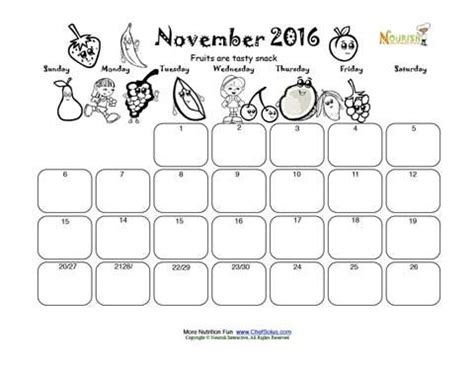 Donde Colocar Los Widgets Limo Template by November Fruit Group Fun Write And Color Calendar For Kids