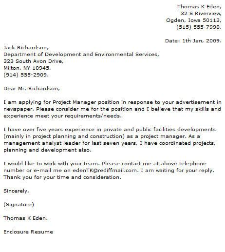 Cover Letter Project by Project Manager Cover Letter Exles Cover Letter Now