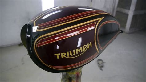 custom paint motorcycles add recessed custom paint on 2017 triumph bobber motorcycle tank by