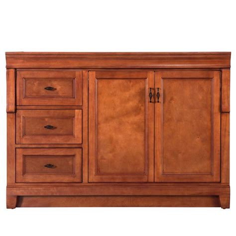 quot foremost quot naples 48 in w bath vanity cabinet only in warm cinnamon with left drawers