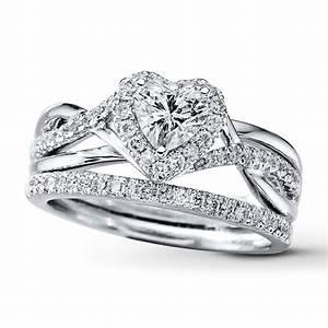 kay diamond bridal set 7 8 ct tw heart shaped 14k white gold With heart shaped wedding rings bridal set